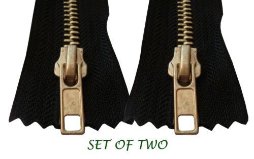 2PCs Metal Gold Brass Zip 16 18 20cm Trousers #5 Jeans Zipper Closed End Black