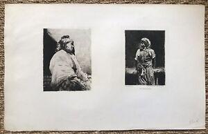 """Deux Eaux Fortes Originale de Norbert Gœneutte - Types Mauresques - France - Commentaires du vendeur : """"Bel état général"""" - France"""