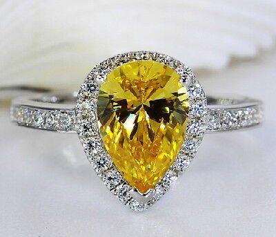 HandmadeJewelry Womens Pear Yellow Topaz 925 Silver Wedding Ring Size 6-10