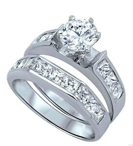Brilliant-Engagement-Wedding-Princess-Clear-CZ-Sterling-Silver-Ring-Set