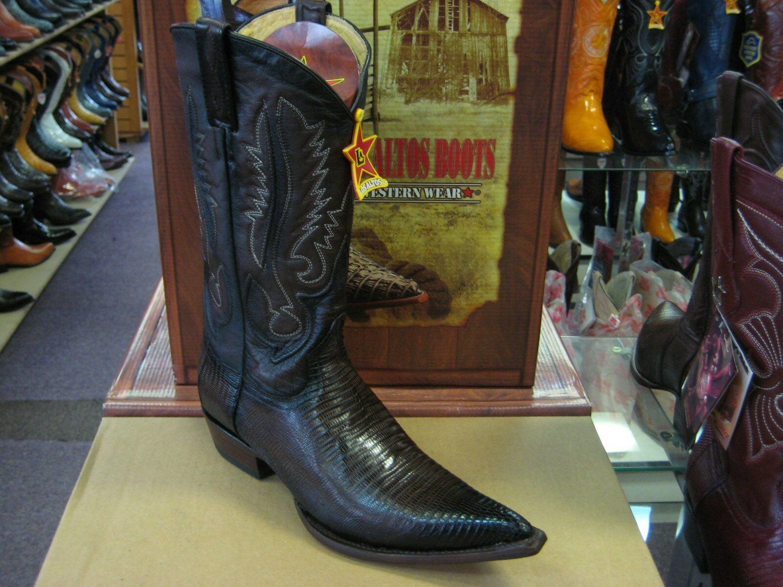 LOS ALTOS BROWN 3X-TOE GENUINE TEJU LIZARD WESTERN COWBOY BOOT (EE) 95EV0716