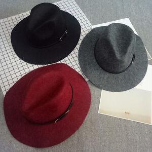 Women Vintage Unisex Fedora Retro Wide Brim Panama Hat Wool Cap Felt ... f992cce6886