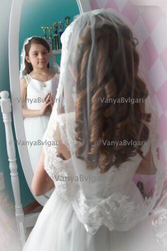 CATHOLIC CONFIRMATION FLOWER GIRL IVORY VEIL COMMUNION LACE VEIL MANTILLA
