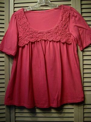 Bright Pink Cotton Knit Top S/M 6/8 Crochet Front Yoke Gathered Front Maternity