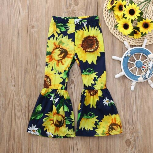 Toddler Kids Girls Sunflower Print Bow Flare Long Pants Casual Trousers Clothes