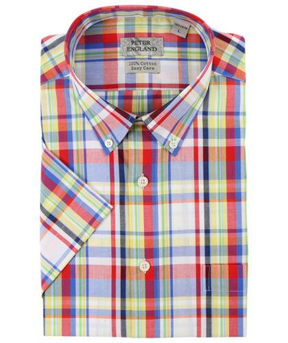 Peter England Red Madras Check Short Sleeve Cotton Shirt