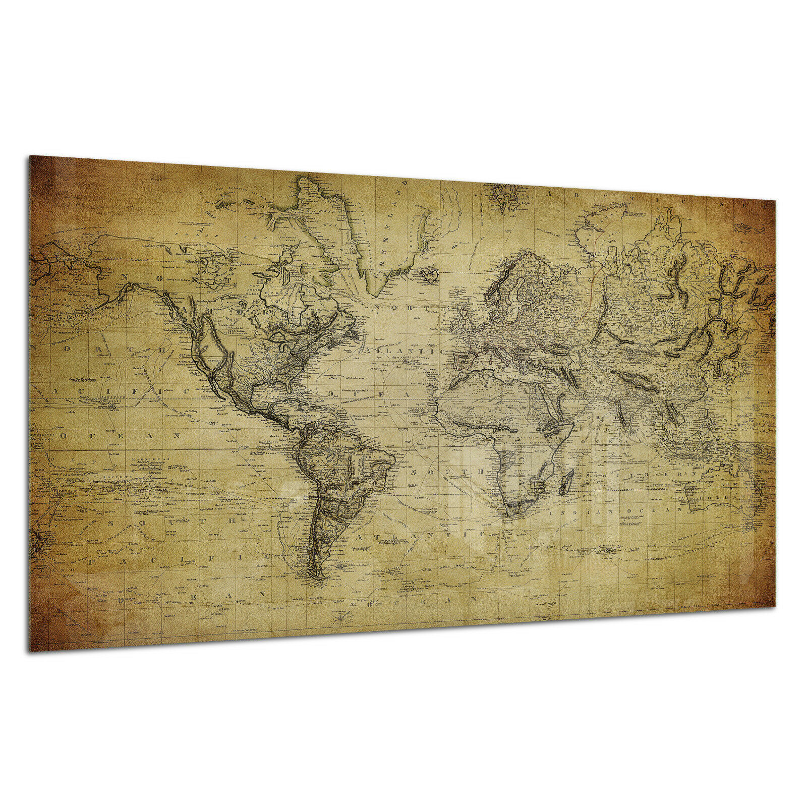 Tempered Glass Photo Print Wall Art Picture Old Vintage World Map Prizma GWA0318