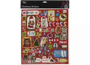Vrac Prix - 10 X Grand Kids Xmas Noël Autocollant Feuilles Animal Designs-afficher Le Titre D'origine Emballage Fort