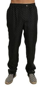 NEW-DOLCE-amp-GABBANA-Pajama-Pants-Lounge-Black-Polka-Dot-100-Silk-IT46-W32