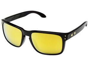 b5815aa7cc Image is loading Oakley-Holbrook-Sunglasses-OO9102-E355-Polished-Black-24K-