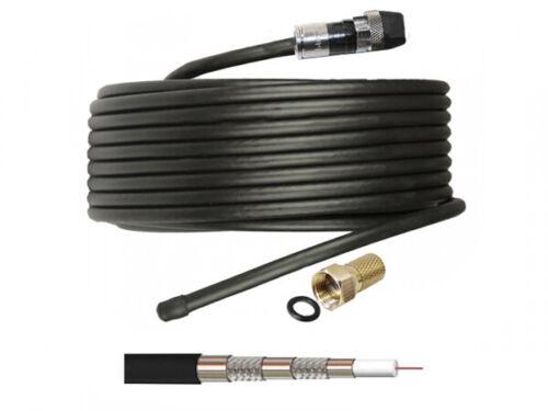 2m Koaxialkabel 135dB Sat Koax Kabel Außenbereich DIGITAL SAT 4K UHD Schwarz GWS