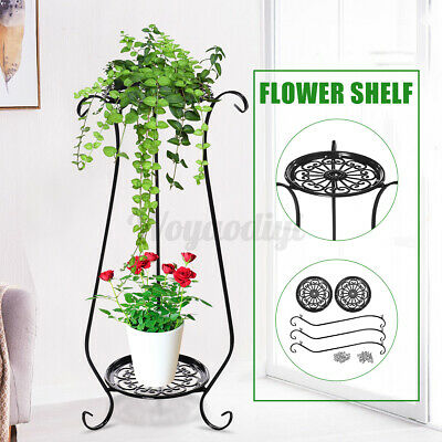 75cm Black Metal Iron Tall Plant Stand Flower Pot Display Shelf Rack 2 Tier UK