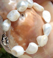 """Charming 10x12mm baroque white freshwater pearl bracelet 7.5 """" AAA"""
