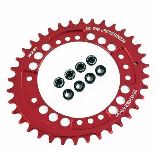 FOURIERS Oval Shape Design MTB 36T BCD 104mm Single Chainring , Red