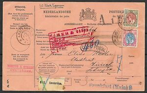 Netherlands covers 1904 PacketCard Amsterdam to Frankfurt
