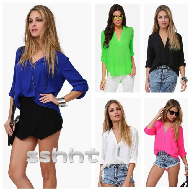 Sexy Women's Loose Chiffon  Fashion V-Neck Tops Long Sleeve Shirt Casual Blouse