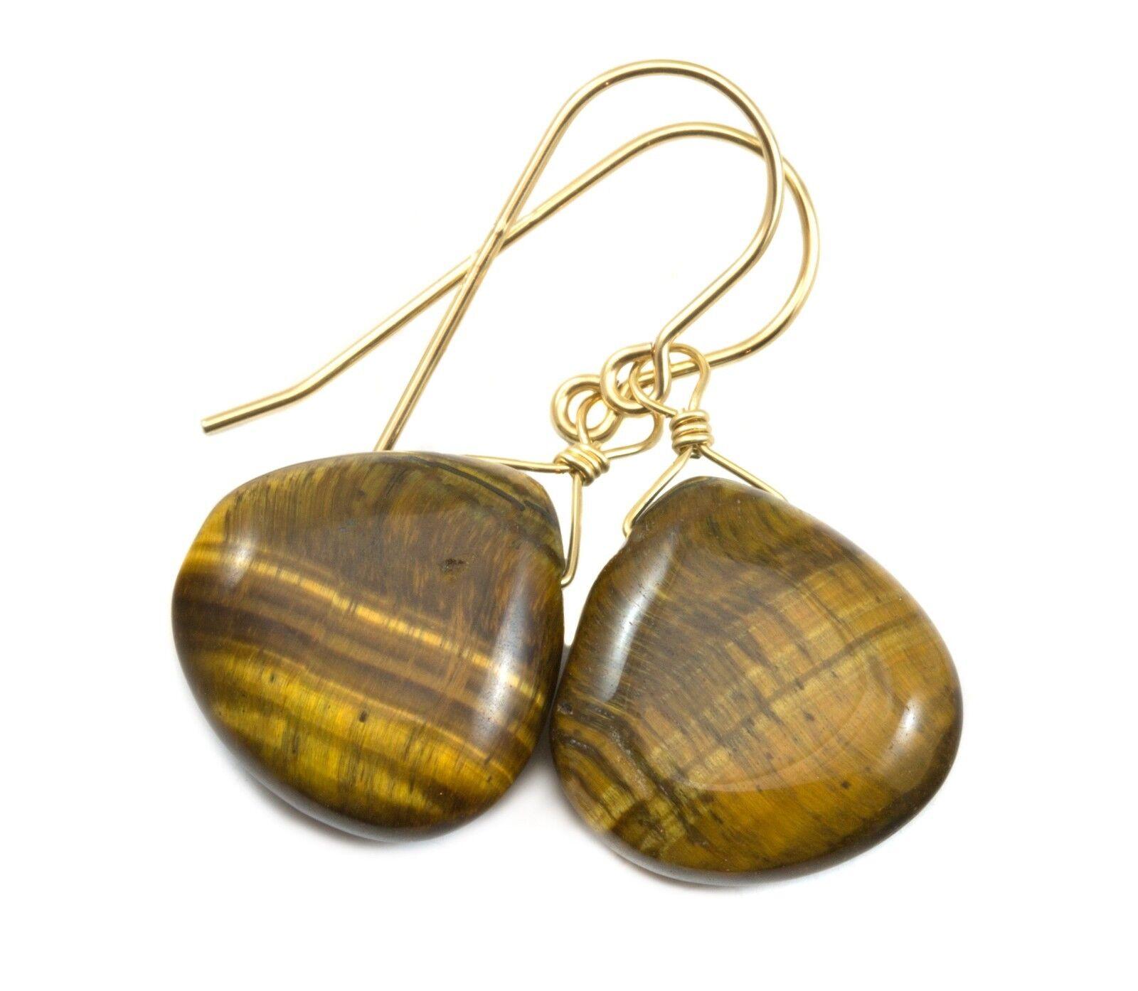 Tiger's Eye Earrings 14k gold Sterling Heart Dangles Drops golden Amber Simple
