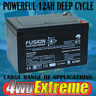 12VOLT 12AH DEEP CYCLE AGM BATTERY TO SUIT SCOOTER GOLF BUGGY CART SLA SOLAR CAR