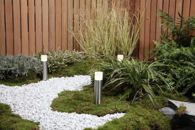 Gartenleuchte 12 Volt Oak Edelstahl 3er Komplettset mt LED-Beleuchtung
