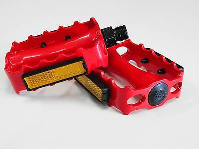 NEW CRIMSON RED BIKE PEDALS BMX TRACK FIXIE MTB Bicycle 9//16/""