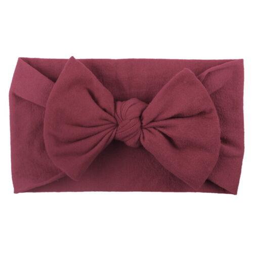 UK Baby Girls Toddlers Turban Solid Headwear Accs Court Knot Headband Hair Cap