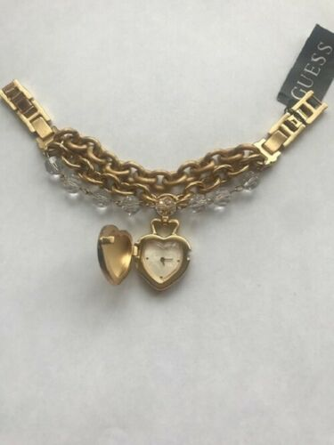 Authentic GUESS 10552L1 Gold tone stainless steel Heart shape Bracelet watch NWT