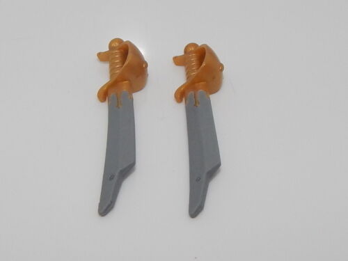 Lego Minifigure Lot Of 2 Swords Cutlass Elaborate with Pearl Gold Handle W9