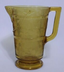 1880's Amber EAPG Pattern Glass Wooden Pail Bucket Pitcher by Bryce, Higbee & Co