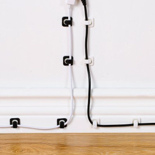 18X Cable Cord Wire Line Organizer Clip Fastener Holder Desk Wall Storage