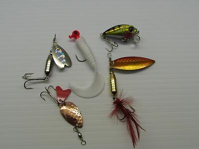 7g  pike perch trout salmon bass fishing B 5 x spinner grub and plug set 1.5g