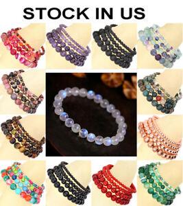 Handmade-Natural-Gemstone-Round-Beads-Stretch-Bracelet-4mm-6mm-8mm-10mm