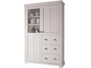 k chenschrank buffetschrank schrank buffet 115x118 cm kiefer massivholz wei ebay. Black Bedroom Furniture Sets. Home Design Ideas