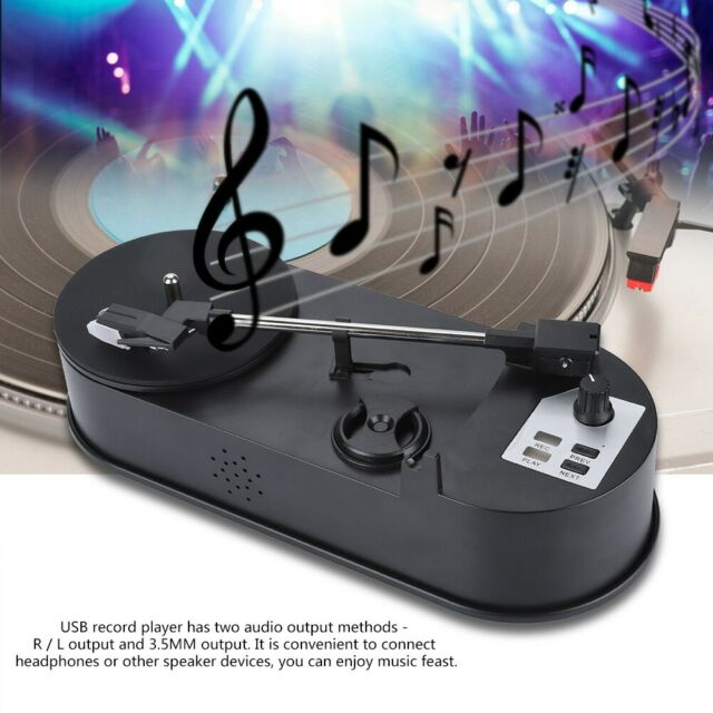 USB Portable Vinyl Turntable Record Player Converter 33/45RPM LP to MP3 WAV SD