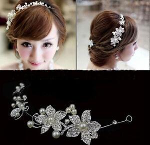 Tiara-Diadem-Hochzeit-Braut-Blumen-Perlen-Haarschmuck-Stirnschmuck-Strass