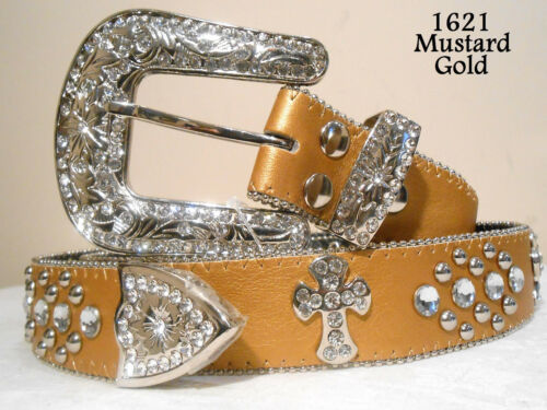 New Womens Rhinestone Crystal Cross Bling Belt Assorted Colors and Sizes
