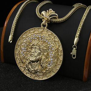 Mens Gold Plated Xl Hip Hop Round Jesus Pendant 36 Franco Chain Necklace D597 Ebay