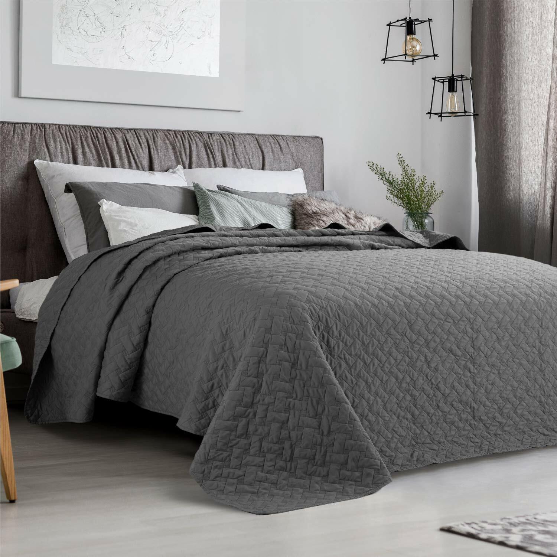 Lightweight grau Basketweave König Größe Bettspread Comforter Startseitelet 240 x 260 cm