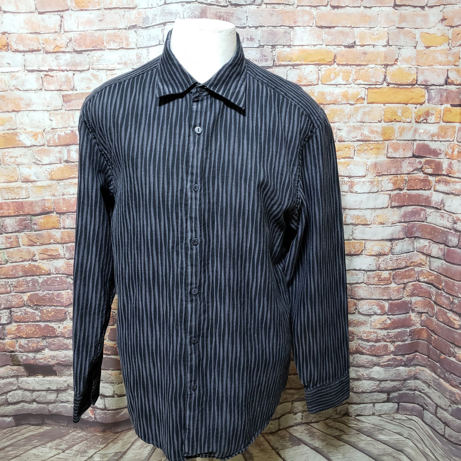 JHANE BARNES STRIPED COTTON LONG SLEEVE REGULAR FIT SHIRT SIZE XL A47-15