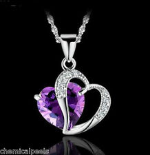 925 Sterling Silver Purple Amethyst Heart Crystal Chain Pendant Necklace USA