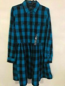 New luxury Ralph Lauren denim turquoise cotton buffalo plaid dress girls size 16