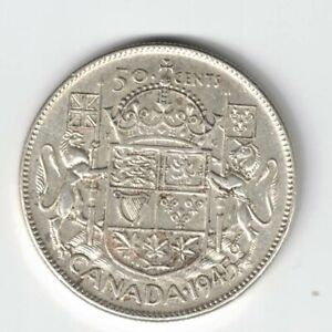 CANADA-1945-50-CENTS-HALF-DOLLAR-KING-GEORGE-VI-CANADIAN-800-SILVER-COIN