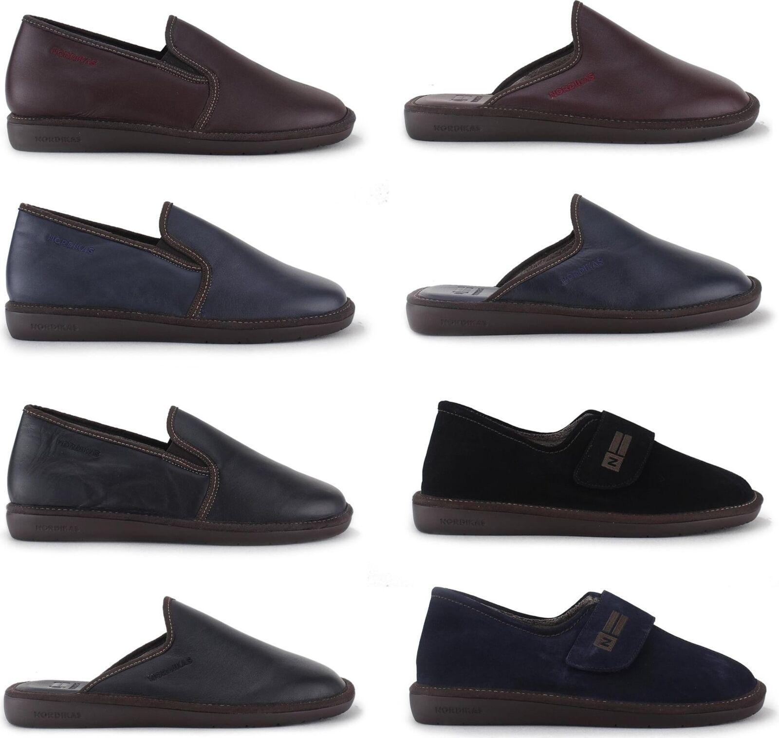 Nordikas 131 663 374 Mens Luxury Soft Genuine Leather Suede Comfort Slippers