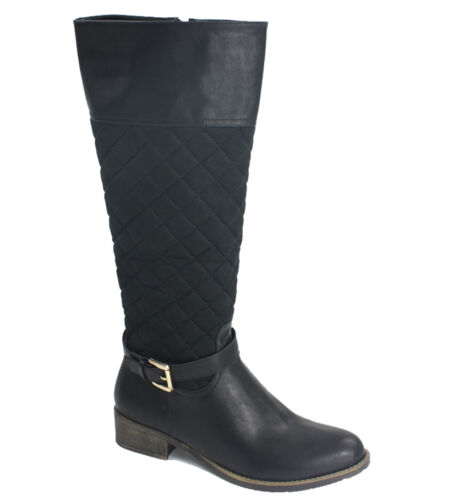 Ladies Women Faux Leather Knee High Block Heel Flat Biker Zip Riding Boots Shoe