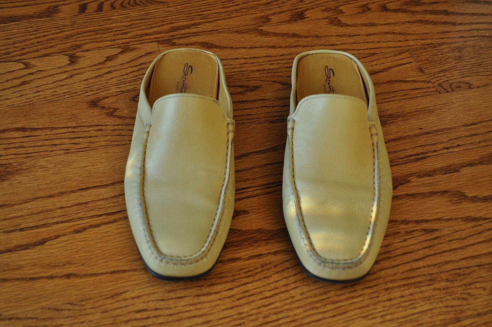 Damenschuhe SANTOM Beige Leder Flats Schuhes Größe 7.5 M MADE IN ITALY