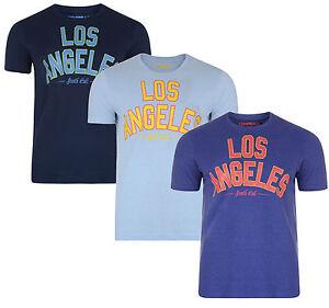 New-Men-039-s-Conspiracy-Print-Cotton-T-shirt-Top-Los-Angeles-LA-Blue-Sky-Navy