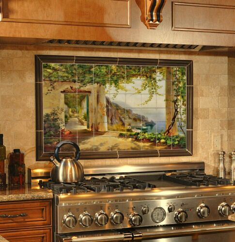 32x20 View to the Amalfi Kitchen Backsplash Mural Tumbled Marble Tiles