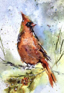 RED-CARDINAL-ORIGINAL-WATERCOLOUR-PAINTING-OF-BIRD-BY-DIANE-ANTONE-SIGNED-UNIQUE