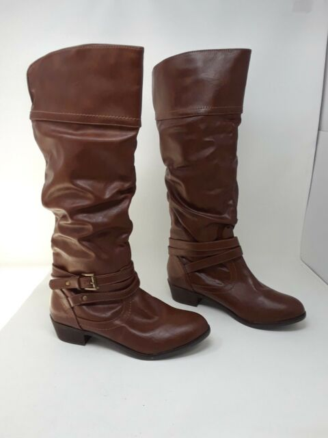 New! Women's Bongo Peyton Slouch Knee-High Fashion Boots Brown N18