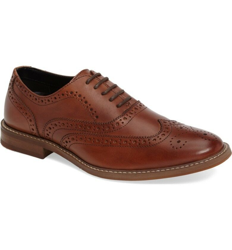 THE RAIL NORDSTROM HUDSON WINGTIP BROWN LEATHER MEN'S OXFORD SHOES SIZE 42 8-8.5