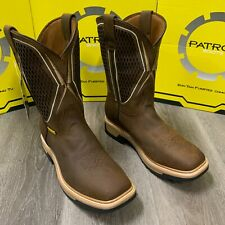 MEN'S SQUARE STEEL & SOFT TOE WORK BOOTS COWBOY BROWN GENUINE LEATHER OIL RESIST